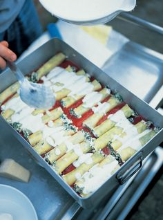 Spinach & Ricotta Cannelloni| Pasta Recipes | Jamie Oliver Recipes  Vegetarian Option  Can be made the day before, add Alfredo sauce and cheese and bake before shower.
