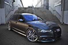 Daytona gray metallic 2017 Audi S6 Sedan / black optics
