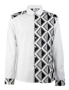 Side panel shirt-Black & White - OHEMA OHENE AFRICAN INSPIRED FASHION - 1