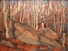 Rock, Birches and Sunlight, Fall 1914 Group Of Seven Art, Group Of Seven Paintings, Paintings I Love, Canadian Painters, Canadian Artists, Tom Thomson Paintings, Abstract Trees, Abstract Paintings, Famous Art