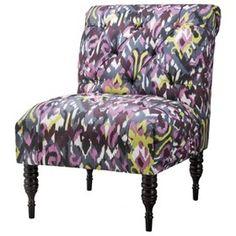 Vaughn Tufted Slipper Chair - Gray/Purple Ikat : Target Mobile