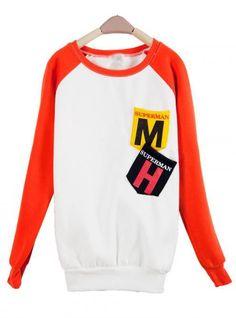 Orange MM Pocket Round Neck Long-sleeved Sweatshirt$38.00