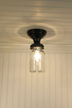 Mason Jar Ceiling LIGHT Vintage Quart Single - Mason Jar Light Fixture - The Lamp Goods - 2 Complete your mason jar look with this farmhouse flush mount ceiling light. Mason Jar Light Fixture, Diy Mason Jar Lights, Mason Jar Lighting, Ceiling Light Fixtures, Mason Jar Diy, Ceiling Lights, Room Lights, Pantry Lighting, Porch Lighting