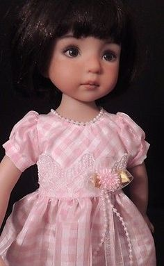 """Pink Checked Taffeta Dress - fits 13"""" Little Darling by Dianna Effner"""