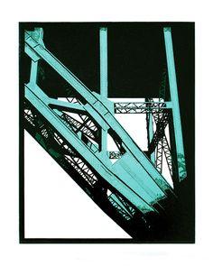 """Tyne Bridge, Newcastle"" linocut by Graham Spice. http://spicelinoprints.co.uk/ Tags: Linocut, Cut, Print, Linoleum, Lino, Carving, Block, Woodcut, Helen Elstone, Industrial, Girders, Steel"