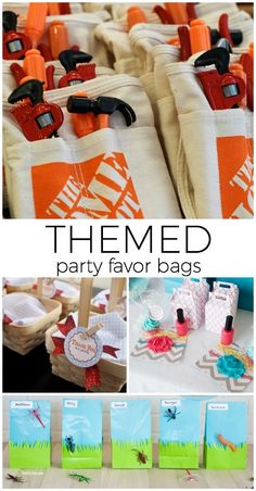Start the party planning by designing a themed favor bag! #partyplanning #parties