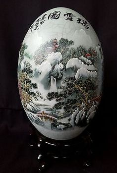 Vintage Chinese Winter Landscape Snow Scene Porcelain Republic? Large Egg