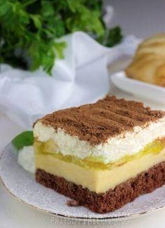 CIASTO Z GRUSZKAMI, KREMEM BUDYNIOWYM I ŚMIETANOWĄ PIANKĄ Polish Desserts, Polish Recipes, Cookie Desserts, Pie Cake, No Bake Cake, Sweets Cake, Fruit Cakes, Pumpkin Cheesecake, Homemade Cakes