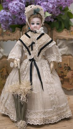 "14"" (36 cm.) Antique French Fashion Wide-Eyed Doll by Jumeau with Signed Jumeau Body, c.1878"