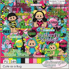 "Daisies & Dimples Cute as a Bug Full Size Kit [BGD_PU_Bug] - These adorable little bugs and baby ""bugs"" are all the buzz when it comes to scrapping the precious little ones in your life. Filled with tons of cute elements and bright colors, you'll use this kit over and over! The color palette includes white, black, hot pink, baby pink, turquoise,"