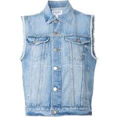 Frame Denim 'Le Original' denim vest ($435) ❤ liked on Polyvore featuring outerwear, vests, vest, cardigans, denim, tops, blue, blue denim vest, denim vest and blue vest
