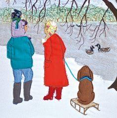 'Wintery Walk' By Textile Artist Heidi Meier. Blank Art Cards By Green Pebble. www.greenpebble.co.uk