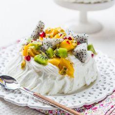 Exotic Meringue Pavlova with Combava, Coconut cream & Exotic Fruits.