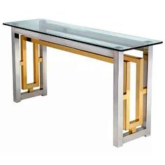 Romeo Rega Style Chrome and Brass Console Table | From a unique collection of antique and modern console tables at https://www.1stdibs.com/furniture/tables/console-tables/