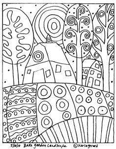 free rug hooking patterns   Barn Garden Landscape rug hook paper pattern
