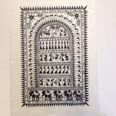 Frameable Warli Art Painting On Silk
