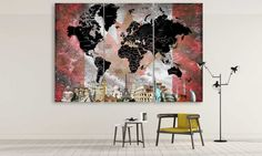 LARGE World Map Canadian Flag Canvas Panel by CanvasFactoryCo Large World Map Canvas, Flag, Handmade Gifts, Painting, Vintage, Etsy, Home Decor, Art, Kid Craft Gifts