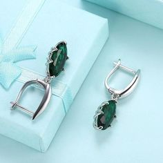 Womens Silver Plated Stud Earrings Cubic Zirconia Tree White Earrings for Women 2X1.6CM by AmDxD