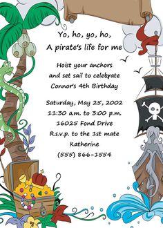 Items similar to Boys Pirate Printable Birthday Party Invitation DIY Digital Print Your Choice on Etsy Sunshine Birthday Parties, Fairy Birthday Party, Boy Birthday, Birthday Ideas, Pirate Party, Pirate Games, Pirate Birthday Invitations, Party Fiesta, Party Entertainment