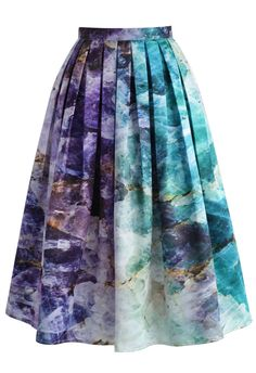 Quartz Crystal Heart Printed Midi Skirt - New Arrivals - Retro, Indie and Unique Fashion