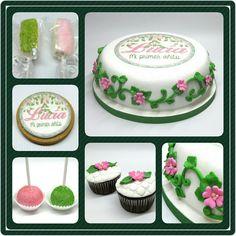 Combo Jardín #PrityCakes #pritycakes #cake #torta #dulce #tarta #cakes #fondantart #edibleprintsoncake #cookies #cakepops #malvapops #cupcakes #jardin #flores #yard #pink #green #yardcake #panama #pty #pty507