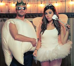 Tooth Fairy and Tooth: The tooth fairy costume might be the perfect outfit to wear when handing out candy to children. What you need: Get a tutu, wings, tiara, and a wand with a cardboard cutout of a tooth stuck to the tip. For the tooth, you'll need a bunch of pillows.  Source: Julie Ann Art