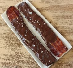 An easy recipe for Chocolate-Covered Bacon, calling for bacon, chocolate, and sea salt or other toppings.