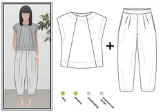 Ethel Top + Pant Outfit Sewing Pattern Bundle By Style Arc