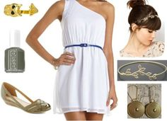 Athena: White lace tank, olive pants, gold belt, gladiator sandals, owl necklace, green earrings, gray jacket