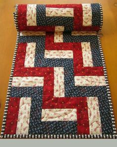 Quilted Table Runner Patriotic Red and Blue Stars Celebrate of July with this table runner for your table decor. A great piece to display with all your of July decorations. There are stars in all the fabrics. This table runner is 14 Patchwork Table Runner, Table Runner And Placemats, Quilted Table Runners, Quilted Table Runner Patterns, Plus Forte Table Matelassés, 4th Of July Decorations, Table Decorations, Place Mats Quilted, Quilted Table Toppers