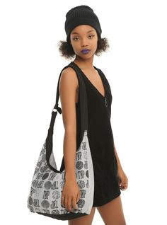All over this TOP tote! // Twenty One Pilots Grey Hobo Bag