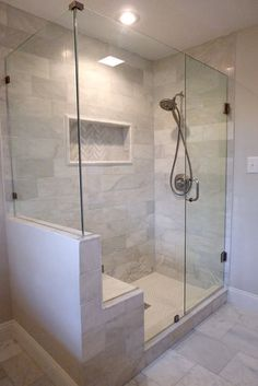 Oversized marble shower with bench