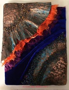 "Lee Ann Walker, Icarus, 2/17/15 Icarus, scorched and burning, falling to the earth. This piece is 8x10"" and mounted without a frame. Velvet, melted organzas, beads, thread and fold form copper."