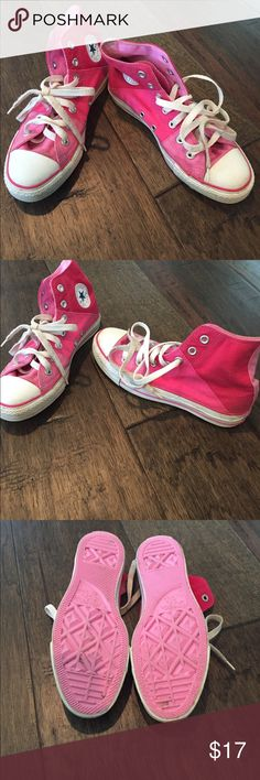 Pink Converse Chuck Taylor's High-tops Cute Chuck Taylor High-tops. Multi-color pink: light, medium and dark. Barely worn. Size 4 men's/6women's Converse Shoes Athletic Shoes