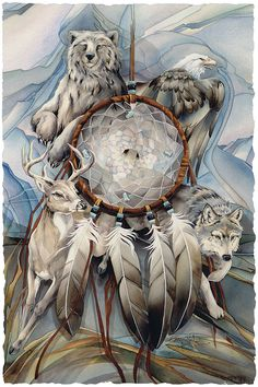 Bergsma Gallery Press :: Paintings :: Natural Elements :: Wild Land Animals :: Bears :: Dreamcatcher - Prints
