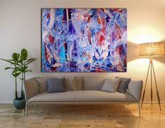 Beautiful painting with many layers and rich textured blended together in an array of colors, organic lines and shapes. This very bold color blending plus iridescent mediums create a piece filled w...
