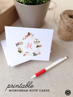 Free Printable Monogram Note Cards.