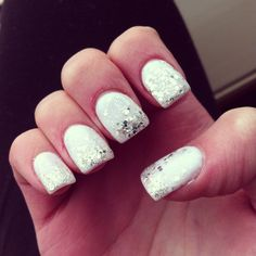White sparkle nails