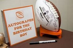 """Good idea with any sports ball. Autographs for Birthday Boy or """"Well Wishes"""" for a new baby at a sports themed party. Sports Themed Birthday Party, Football Birthday, Sports Party, Boy Birthday Parties, Birthday Ideas, Football Soccer, 2nd Birthday, Birthday Basket, Football Party Favors"""