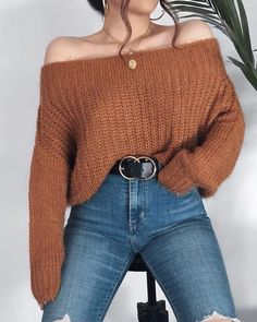 Sweet outfit for the fall - Niedliche Kleider - Fall Kleider Niedliche outfit Sweet Winter Fashion Outfits, Sweater Fashion, Look Fashion, Cropped Sweater Outfit, Autumn Outfits, Cute Sweater Outfits, Trendy Fashion, Fashion Women, Cute Casual Outfits
