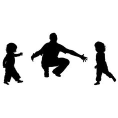 Custom Silhouette Print - Father and Children - Perfect for Father's Day