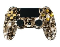 """Golden Toxic Skulls"" PS4 Custom Modded Controller w/ Skull Graphics Gold Dpad & Buttons. COD Ready Auto Aim, Drop Shot, Fast Reload, & Menu for Ghost - http://androidizen.com/shop/golden-toxic-skulls-ps4-custom-modded-controller-w-skull-graphics-gold-dpad-buttons-cod-ready-auto-aim-drop-shot-fast-reload-menu-for-ghost/"