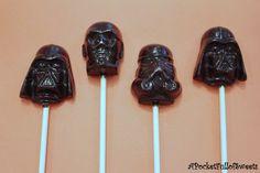 STAR WARS Hard Candy Barley Sugar Lollipops Birthday Party Favors Darth Vader. $19.99, via Etsy.