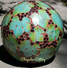 garden ball ~ by Chrysalis Pottery www.facebook.com/BarbJohnson.pottery