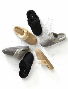 Sueded Slipper: Keep your feet toasty in these ultra-comfortable slippers. Sueded fabric covers the outside, while soft faux fur lines the inside and opening. Easy, slip-on style has a thick, durable heel for everyday wear. For your comfort, Catherines shoes and slippers come in wide width sizes to better fit the plus size woman. catherines.com #Catherines #PlusSize