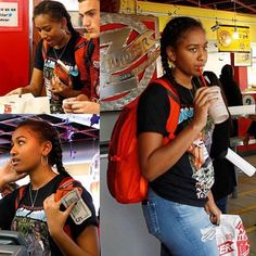 The president's daughter SASHA OBAMA was out supporting Hillary Clinton on the campaign trail. Sasha stopped to get lunch at Z Burgers with a few friends, but