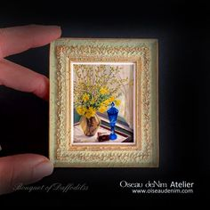 Miniature Painting Prints Picture Frame Still Life-Bouquet of Daffodilss Genre: still life Dimensions: Material:resin, plaster, paper, patina Painting Frames, Painting Prints, Antique Frames, Painting Still Life, Air Dry Clay, Summer Flowers, Print Pictures, Picture Frames, Handmade Items