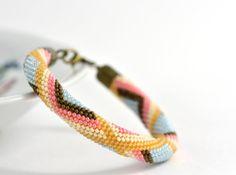Bead Crochet Bracelet Caramel White  Pink  Blue  by LeeMarina, $32.00