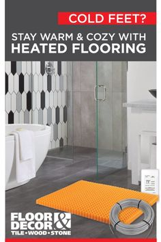 A heated flooring system is an electric system that lays underneath the floor to conduct heat. The systems available at Floor & Decor use cables to conduct heat from under the flooring to bring comfortable and consistent warmth up to the surface. Basement Renovations, Home Renovation, House Remodeling, Remodeling Ideas, Bathroom Renovations, Basement Flooring, Bathroom Flooring, Flooring Ideas, Modern Bathrooms