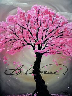 Abstracted cherry blossom in acrylics on canvas. By: Billi Capman